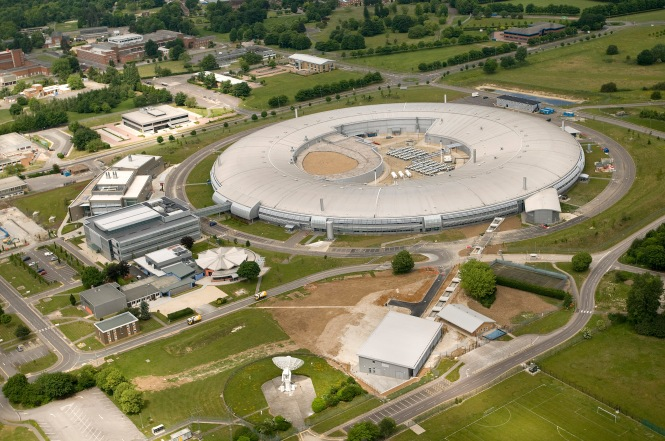 An aerial view of Diamond Light Source, the UK's national synchrotron facility, on the Harwell Science and Innovation Campus, Oxfordshire. Credits: Diamond Light Source.