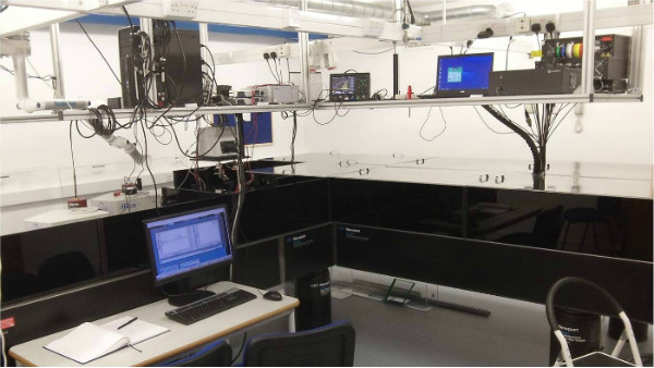 The Bristol Femtosecond Laser Lab. In the black box is a laser system capable of producing laser pulses that are just tens of femtoseconds in duration. Credits: Bristol Laser Group at the University of Bristol.