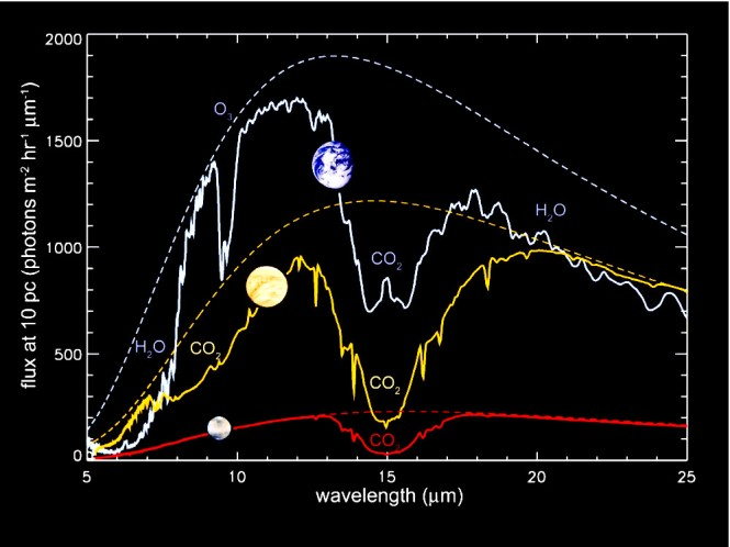 The spectra of the absorbing molecules located in the atmospheres of Mars (red spectrum), Venus (yellow), and Earth (white) are shown for comparison. Credits: Franck Selsis and Giovanna Tinetti, Darwin proposal, 2007.