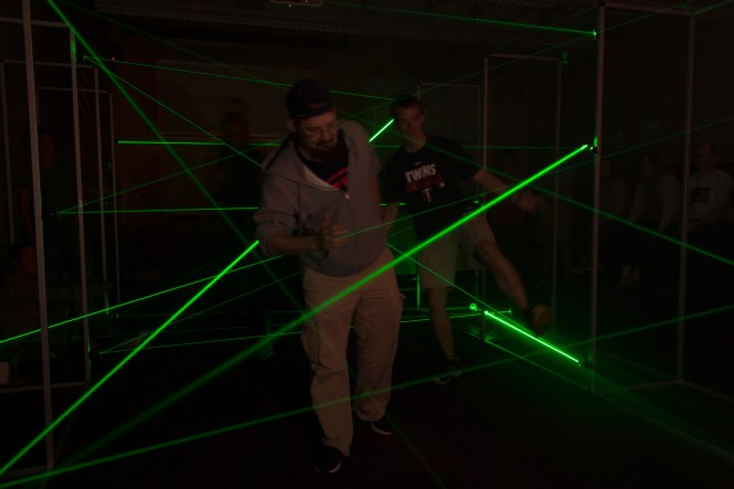 Our redesigned Laser maze, which is always the most popular demo with visitors. Credit: SOCk
