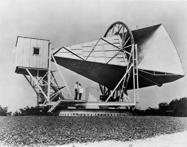 The 15 meter Holmdel horn antenna at the Bell Telephone Laboratories, used by Penzias and Wilson to detected the CMB on 20 May 1964. Credit: Wikipedia public domain (Great Images in NASA)