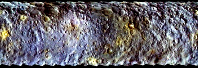 Dawn's first color map of Ceres created from images taken on Feb. 19 from a distance of about 46,000 kilometers. Credit: NASA/JPL-Caltech/UCLA/MPS/DLR/IDA