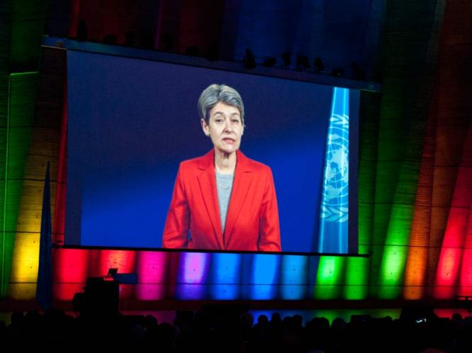 Irina Bokova, UNESCO Director-General at the International Year of Light and Light-based Technologies 2015 Opening ceremony. Credit: UNESCO/Nora Houguenade