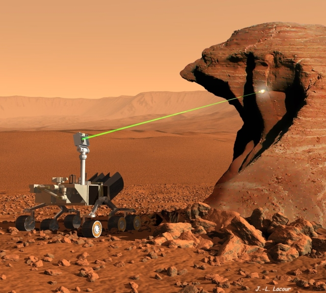 Artist conception of the ChemCam instrument performing laser analysis of a rock outcrop on Mars. ChemCam can analyze targets at distances up to 7 m. Credit: J.-L. Lacour