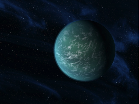 Figure 2. An artist's rendition of a possible water-ocean planet called Kepler-22b that has 230 day orbit and is in the habitable zone of its star. Credit: NASA