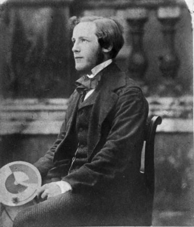 A young James Clerk Maxwell holding his colour wheel (Trinity College Library, Cambridge University). Credit: AIP Emilio Segre Visual Archives.