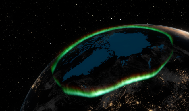 "The aurora oval (green) is the belt around the geomagnetic North Pole where aurora activity is highest. Credit: From the documentary ""The Northern Lights - a magic Experience by P. Brekke."