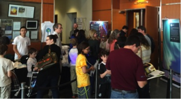 Duke University in Durham, North Carolina, U.S. created a Light: Beyond the Bulb event for the Fitzpatrick Institute for Photonics World Photonics Forum on March 8, 2015. Approximately 700 attendees visited the exhibit, with 200 symposium attendees and 500 members from public, to discover new ideas about light and light technologies in celebration of IYL2015. Credit: Duke University.