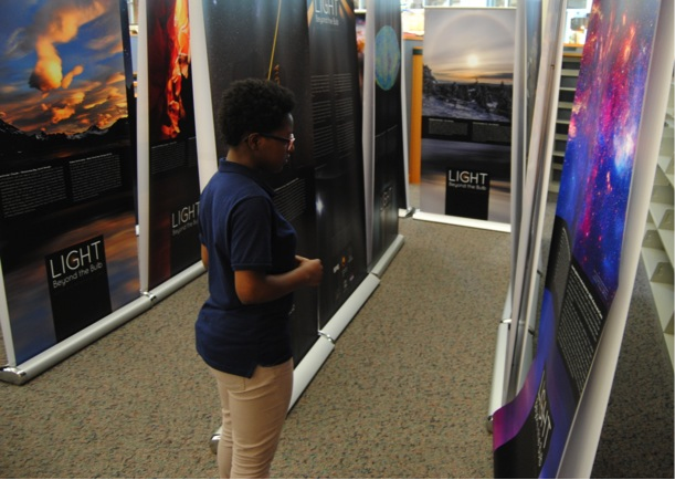 Light: Beyond the Bulb traveled to the Carmel High School in Carmel, IN, U.S., during May 2015. Elementary students from nearby schools participated in the events as part of a field trip to Carmel High School's planetarium. The exhibit materials, which were tied in with student curriculum, also showcased observatories such as the Hubble Space Telescope, and also the International Space Station. Credit: Carmel High School