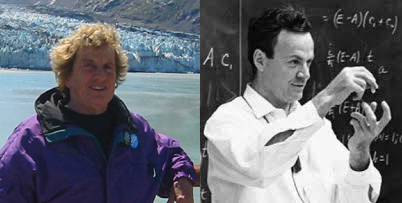 Left: Joan Feynman. Credit: NASA. Right: Richard Feynman. Credit: The National Nanotechnology Initiative