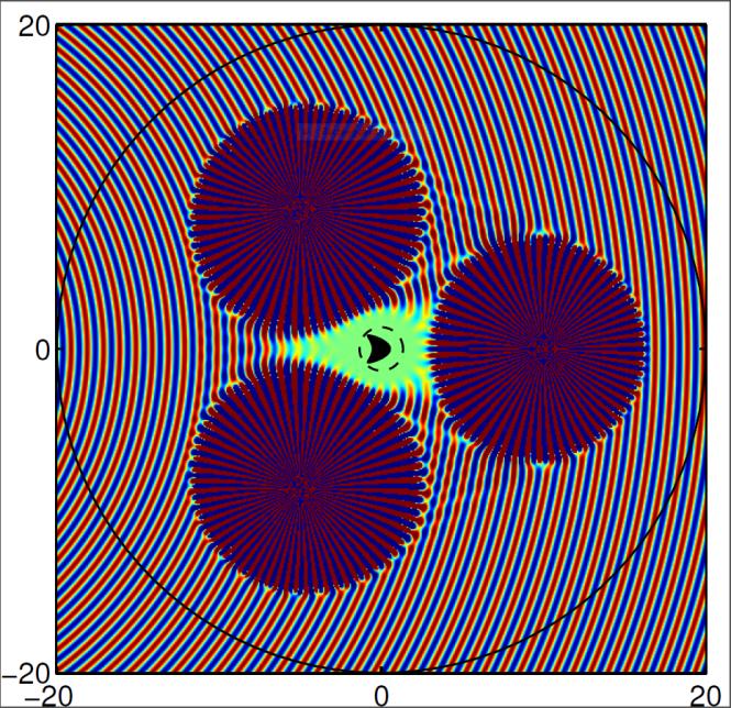 Three active sources cloak an incoming circular wave, creating a quiet zone. Credit: Fernando Guevara Vasquez, University of Utah.