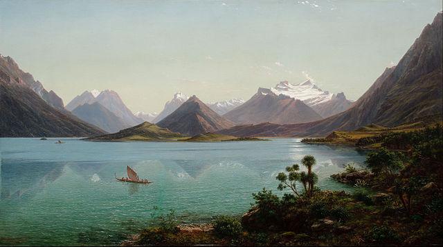 Lake Wakatipu with Mount Earnslaw, Middle Island, New Zealand 1877-1879. Credit: Eugene von Guerard.