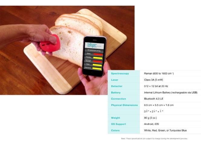 Handheld Raman spectrometer with its smartphone app from TellSpec. Credit: Sarun Sumriddetchkajorn.