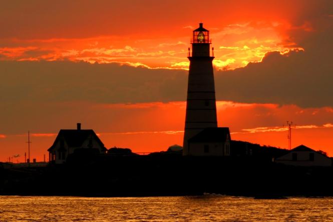 Boston Light at sunset. Credit: Jeremy D'Entremont.
