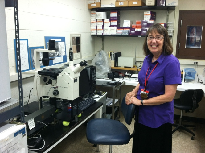 Dr. Ellen Townes-Anderson with her optical trap equipment in her lab at Rutgers New Jersey Medical School in Newark, New Jersey, USA. Credit: Geoff Giordano / Laser Institute of America.
