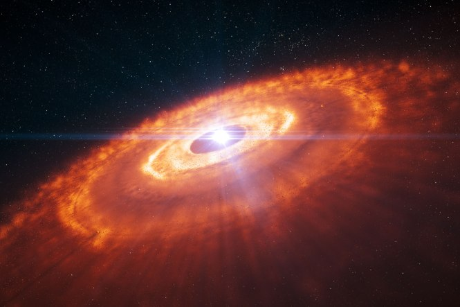 Artist's impression of a young star surrounded by a protoplanetary disc in which planets are forming. Credit: ESO/L. Calçada.
