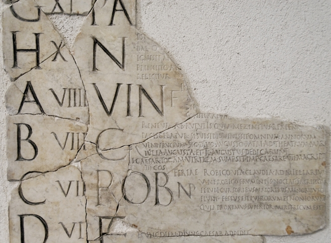 Fragment of the Fasti Praenestini, named after a town Praeneste just east of Rome, where the calendar was set up in marble on the forum. It was probably dedicated to Emperor Augustus. This fragment shows the month of April. Credit: Wikimedia Commons.