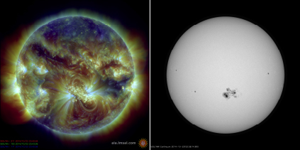 Images taken by NASA's Solar Dynamics Observatory on October 24, 2014. The image on the left shows the Sun's hot atmosphere in extreme ultraviolet (EUV) light, with colors measuring temperature: blue is about 1.1 million degrees Celsius, green about 1.6 million, and red 2.2 million. The image on the right is taken in visible light at the same time, showing how we would see the Sun if viewed with a safe telescope. The sunspots seen on that day were the largest in over 25 years; the Earth would easily fit into the dark core of the largest spot. Credit NASA
