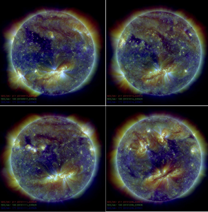 These EUV images of the Sun's outer atmosphere were recorded with SDO's AIA telescopes one solar rotation (approximately 27 days) apart so that the same side of the Sun is seen in each image. The large, bright magnetic region in the southern hemisphere changes shape gradually, with a long, dark filament forming in its center, but recognizable from image to imate. Elsewhere on the Sun, new magnetic regions emerge and existing ones are distorted, while their temperatures (shown by the colors) change all the time. There are no fixed features in the magnetic landscape of the Sun. SDO observes the Sun continuously so that we can follow all the changes … until the Sun's rotation makes a region vanish from view altogether. Credit: NASA.