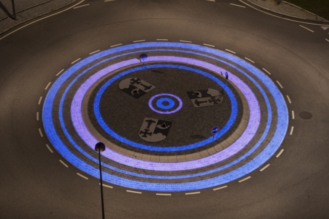 Custom Gobos Produced for ÅF Lighting Showing Finished Roundabout Project. Credit: Projected Image.