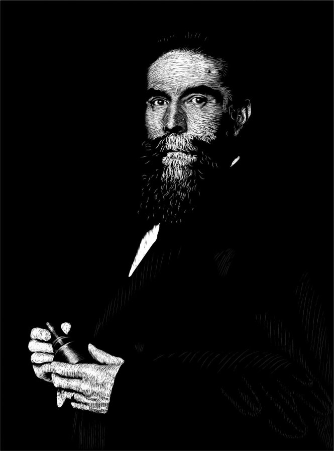 Digital portrait of Wilhelm Roentgen holding a cathode ray tube. Credit: Mark Hom using a Wacom Pen & Touch tablet and Xara software.