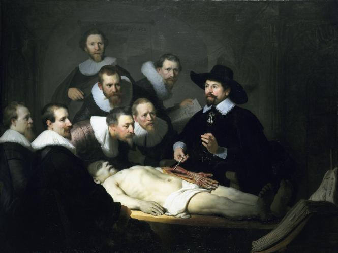 The Anatomy Lesson of Dr. Nicolaes Tulp (1632), oil on canvas by Rembrandt demonstrating mastery of light and the importance of medical investigation and education. Credit: Public domain image. Painting on display at the Mauritshuis museum in The Hague.