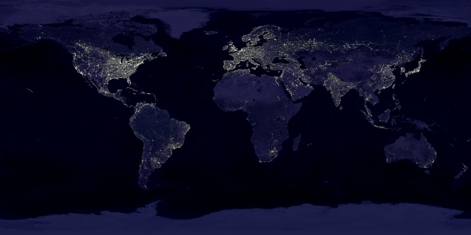Composite image of the Earht at night. Credit: NASA.
