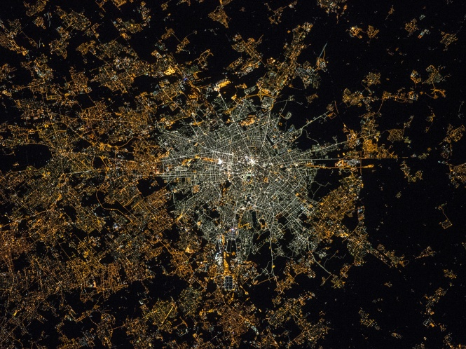 This image of Milan was acquired after the transition to LED technology in the centre. The illumination levels appear to be similar or even brighter in the centre than the suburbs, and the amount of blue light is now much higher, which suggests a greater impact on the ability to see the stars, human health and the environment. Credit: Samantha Cristoforetti.