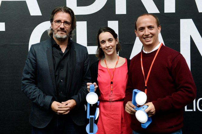 Velux Daylight Symposium London2015. Winners of Natural Light, Mariana Arando (middle) and Luca Fondello (right). Credit: VELUX.