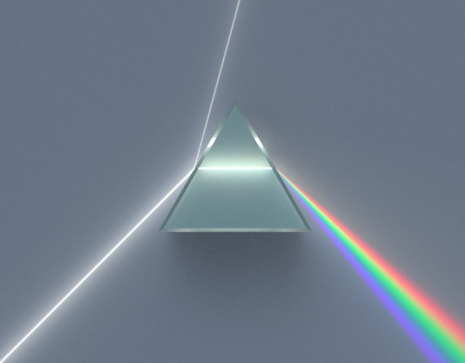 Illustration of a dispersive prism decomposing white light into the colours of the spectrum, as discovered by Newton. Credit: Wikimedia Commons.