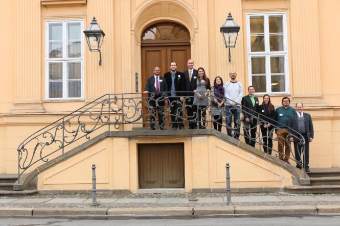Participants of the event in front of the Magnus Haus in Berlin, Germany. Credit: DPG.