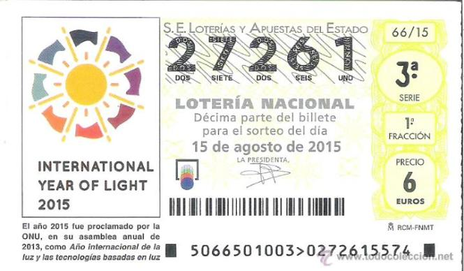 Spanish National Lottery ticket on August 15th featuring the IYL 2015 logo. Credit: National Spanish Lottery.