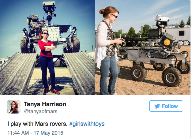 "The astronomer Tanya Harrison ""playing"" with a prototype of the Mars Rover. #girlswithtoys. Credit: Tanya Harrison/Twitter."