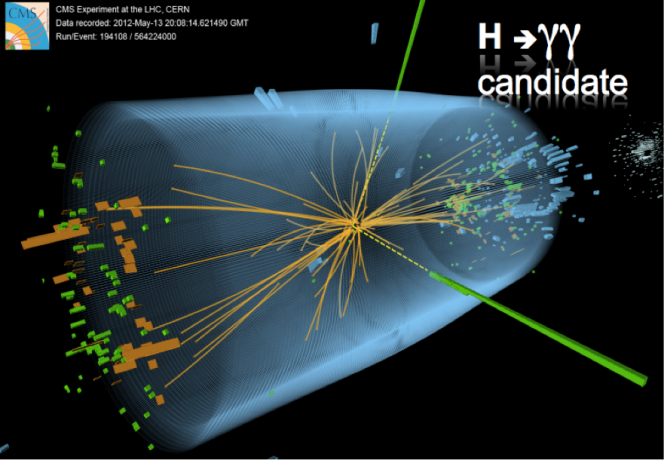 "A ""possible"" Higgs boson decaying into two photons at CMS. Credit: CERN."