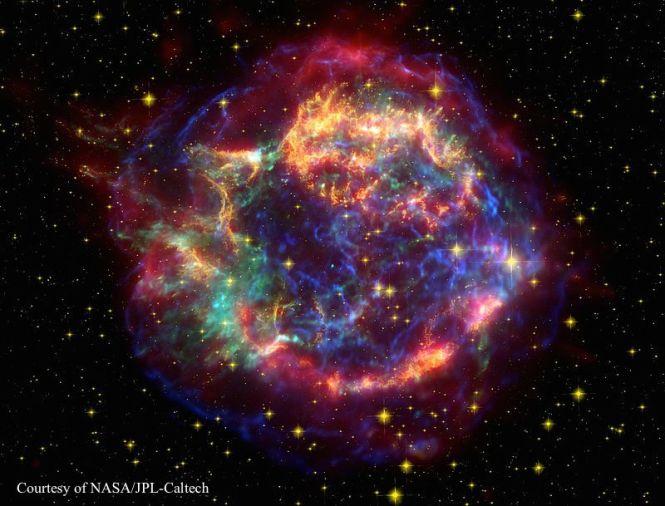 Supernova Remnant Cassiopeia A. Credit: NASA/JPL-Caltech.