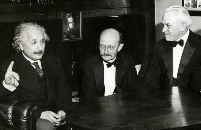 From left to right: Einstein, Planck and Millikan in 1931. Credit: Wikipedia.