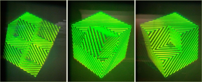 Views from different angles of the image reconstructed by a hologram, showing changes in perspective. Deutsches Museum (Munich). Credits: Augusto Beléndez.