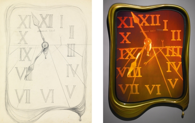 """Melting clock"": Dalí`s sketch (1975) and hologram made by Selwyn Lyssack in 2003, auctioned in 2014. Credit: Sotheby's."