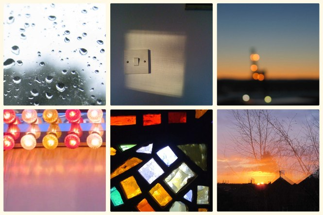 Selected images from 'Image of the Day for International Year of Light 2015' Project. Top L to R: Day 85 - A Rainy Day in the Studio, Day 42 - Light Switch, Day 113 - Soft Focus Beacon. Bottom L to R: Day 12 - Sideshow, Day 28 - Window by Leonard French, Day 89 - Reflected Dawn Two Suns. Credit: Michaela French.