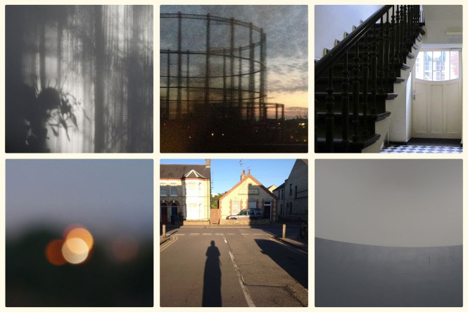 Selected images from 'Image of the Day for International Year of Light 2015' Project. Top L to R: Day 251 - My Mother's Kitchen, Day 164 - Sunset from the Train North London, Day 143 - Interior/Exterior Berlin. Bottom L to R: Day 265 - Distant Light, Soft Focus, Day 149 - Long Evening Shadow, Day 250 - Grey Day James Turrell Skyspace. Credit: Michaela French.