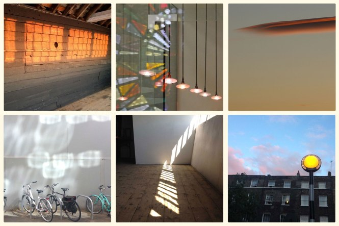 Selected images from 'Image of the Day for International Year of Light 2015' Project. Top L to R: Day 191 - 5.20am Old Lookout Broadstairs, Day 248 - Light and Reflection Leonard French Window, Day 244 - Cloud. Bottom L to R: Day 171 - Bicycles with Window Reflections, Day 189 - Transmission and Rotation, Day 200 - Evening Pedestrian. Credit: Michaela French.