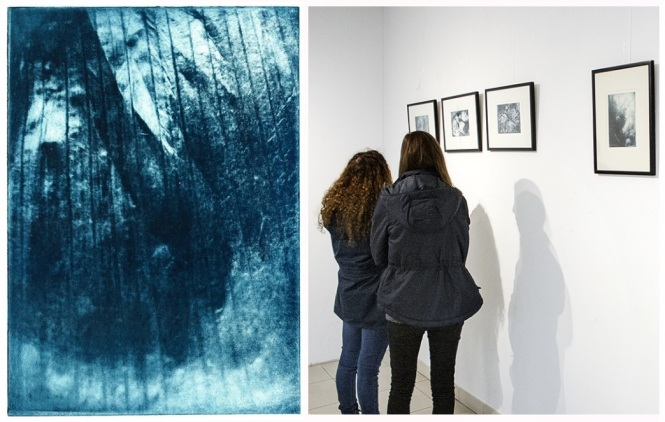 Left: print with a photopolymer plate. Credit: Gina Gunaratnam. Right: exhibition at the Université de Haute-Alsace in Mulhouse, France. Credit: Ludovic Holbein.