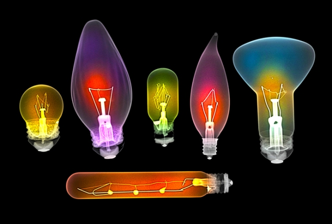 Assorted light bulbs, coloured X-ray. Credit: Light: Beyond the Bulb.