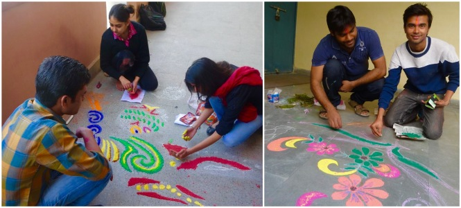 Students making Rangoli. Credit: Ashish Chawdhury.