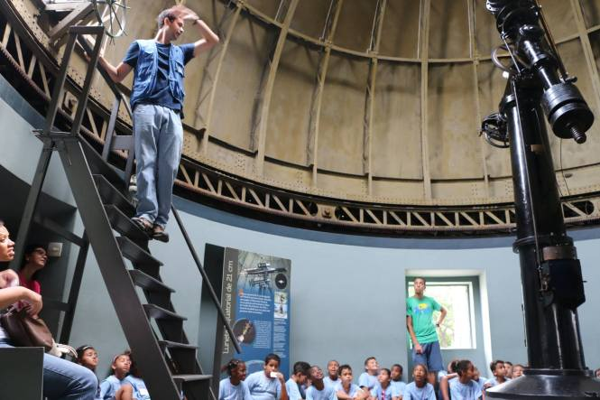 Preparing the 21cm refractor dome to observe the night-sky. Credit: MAST.