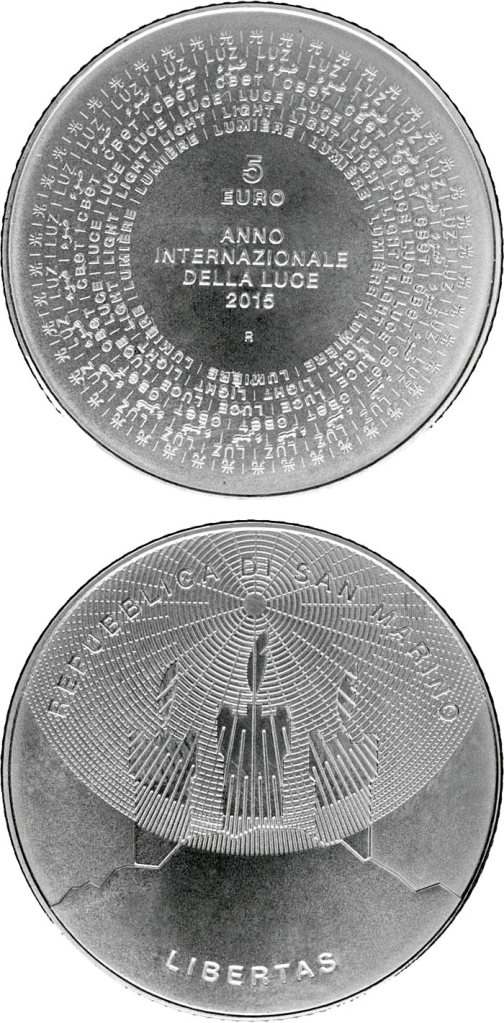 The Ufficio Filatelico and Numismatico of San Marino dedicates the divisional coin set 2015 with a 5€ silver uncirculated coin to the theme of the International Year of Light. Credit: Matthew Dent.