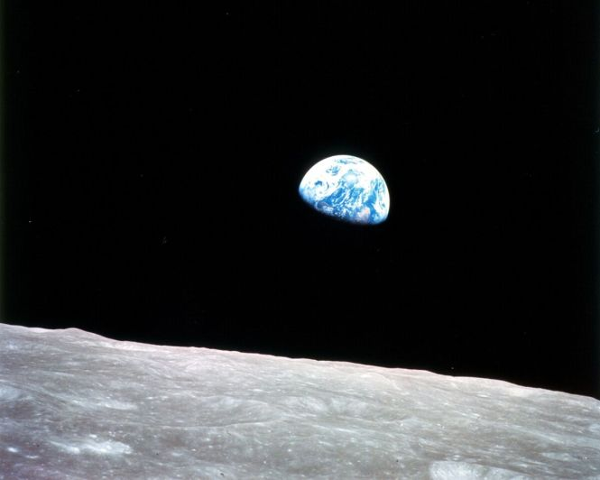 "Imagery in Space: ""Earthrise"" taken from the first manned mission to the moon, Apollo 8, on December 24, 1968. Credit: NASA."